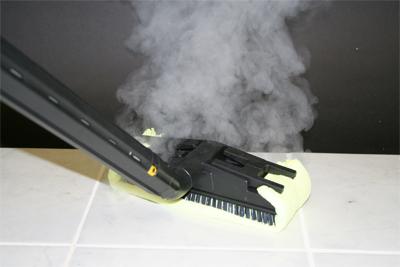 Steam Mopping Using Floor Brush