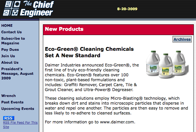eco-green, green chemicals, chief engineer